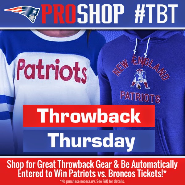 52abf5a29 Shop TODAY   Be Entered to Win Tickets to the Patriots vs. Broncos Game!  http   proshop.patriots.com throwback   TBT PatriotsNation  PatriotsProShop