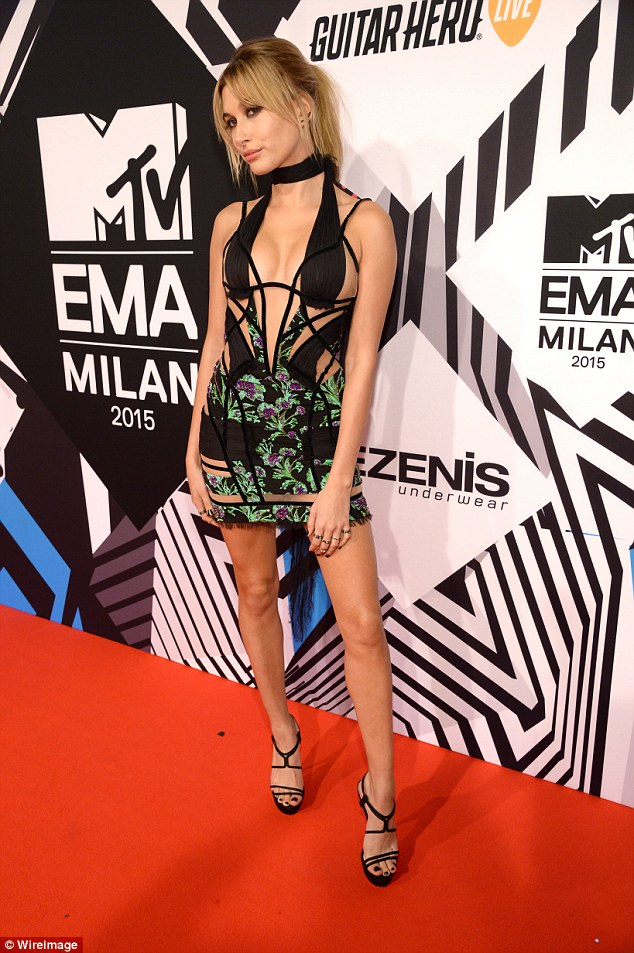 Hailey Baldwin flaunts skin in Versace at the MTV EMAs 2015