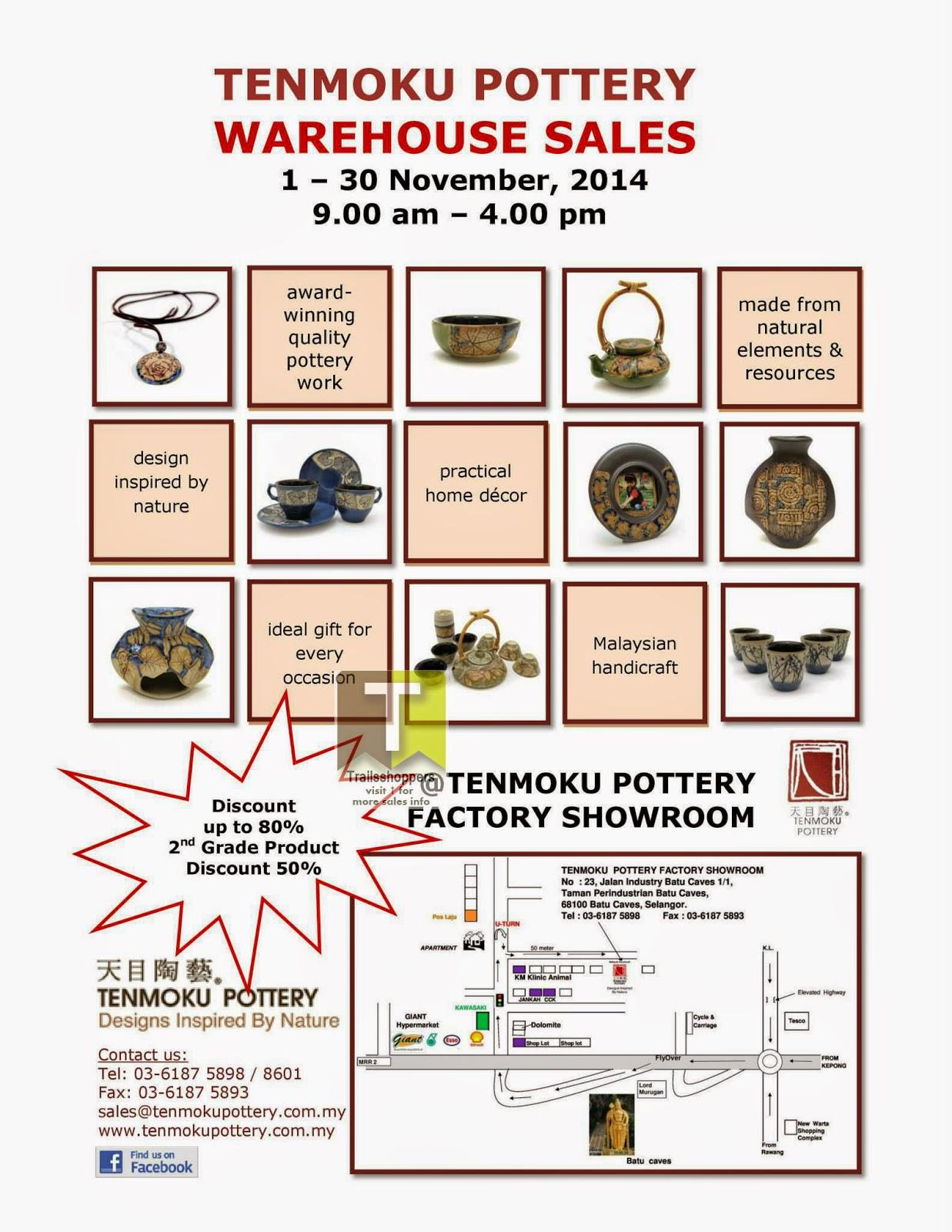 Tenmoku Pottery Warehouse Sale offers