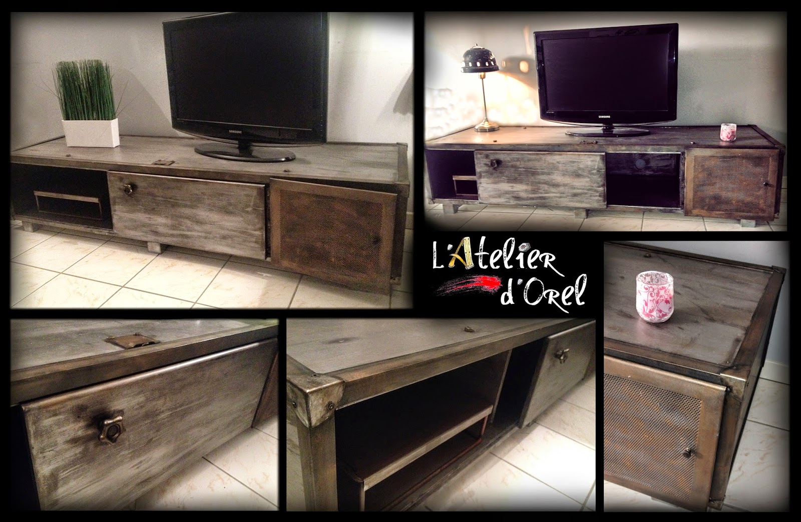 l 39 atelier d 39 orel meuble tv industriel. Black Bedroom Furniture Sets. Home Design Ideas
