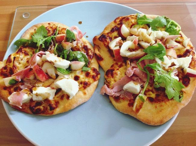 homemake pizza with peach and parma ham