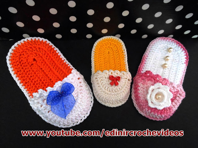 chinelinhos em croche bebê decoração cursodecroche aprendercroche edinir-croche dvd loja