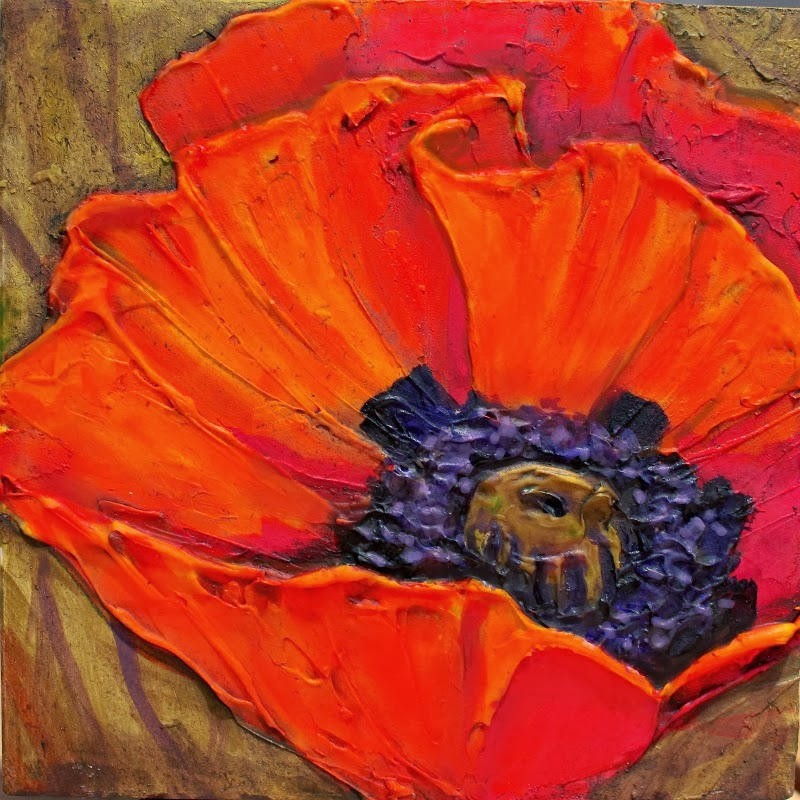 Carol nelson fine art blog big red acrylic poppy flower for Painting large flowers in acrylic