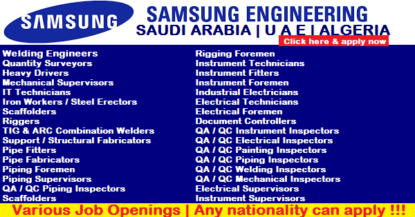 SAMSUNG ENGINEERING COMPANY JOB OPENINGS | U A E | SAUDI ARABIA | ALGERIA ~ JOBZ4NOW