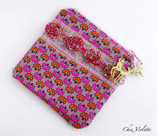 Geometric zipper pouch : neon geometric pattern + rose lace
