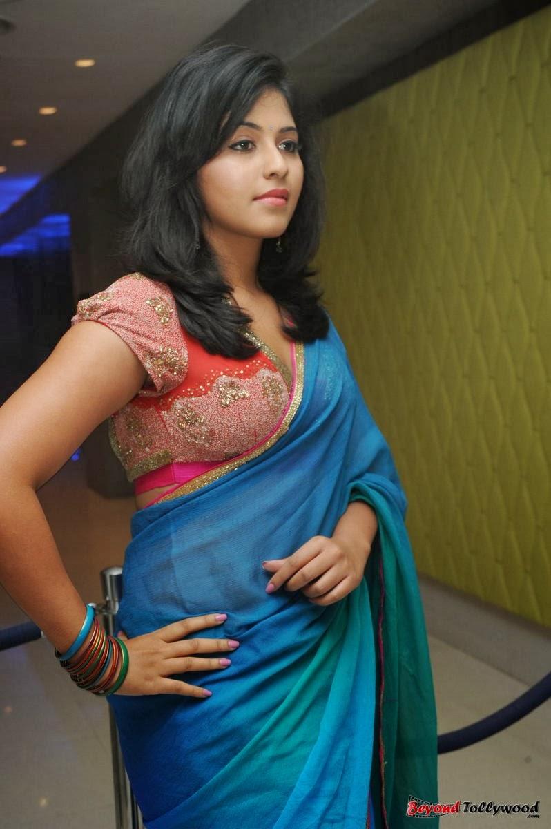 spicyimg: Anjali Saree Photos at Masala Audio Launch