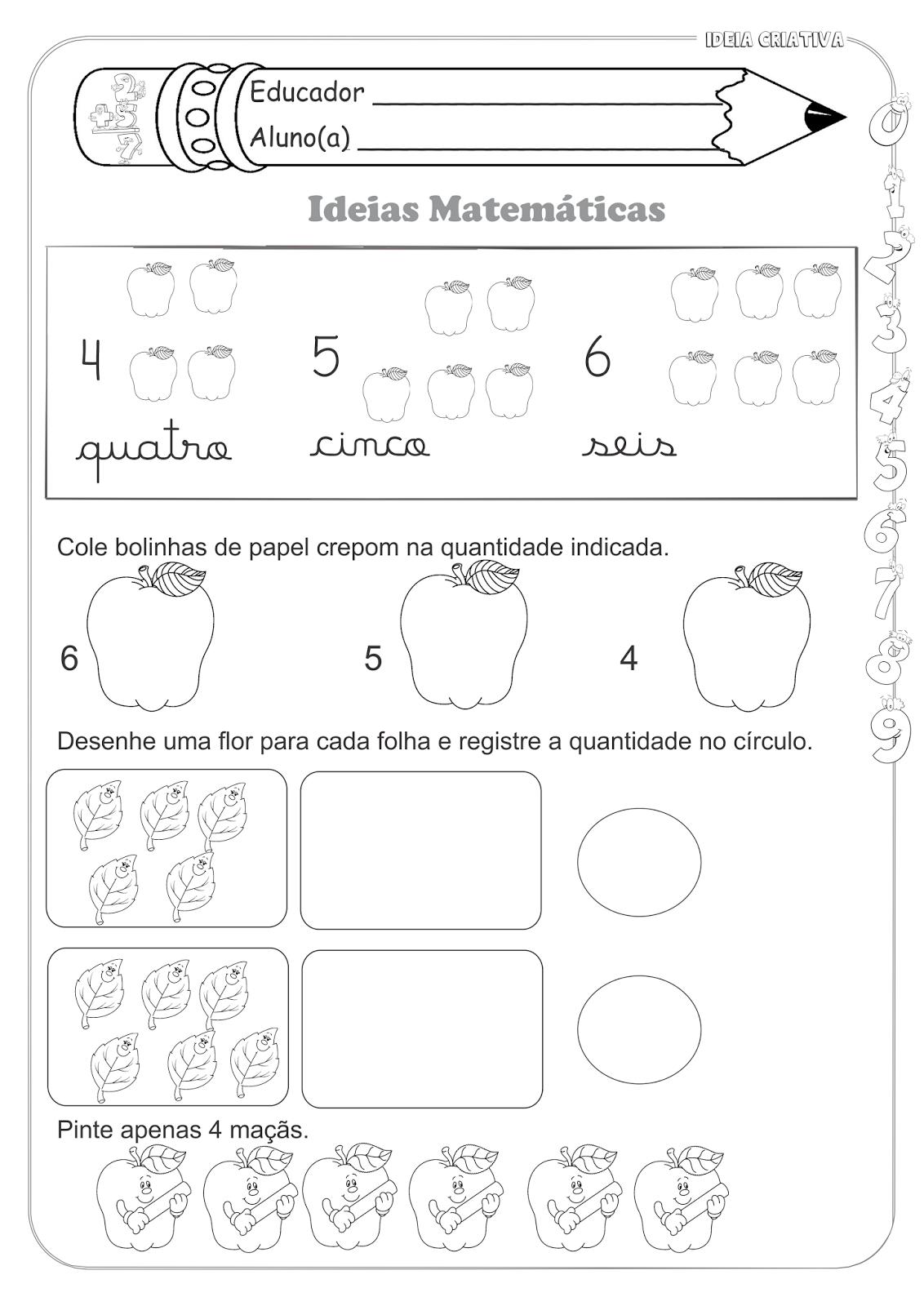 Atividades Educativas Matemática Número e Quantidade para Ensino Fundamental