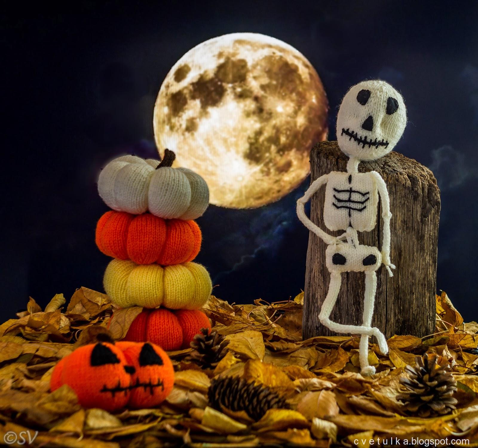 Halloween Skeleton & Free Pumpkin Pattern c v e t u l k a knits