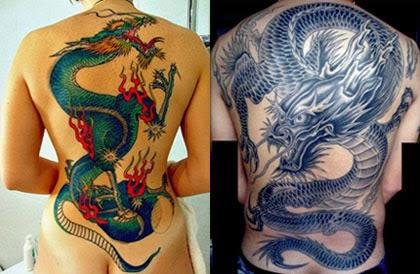 Desenhos de tatuagens de dragão nas costas