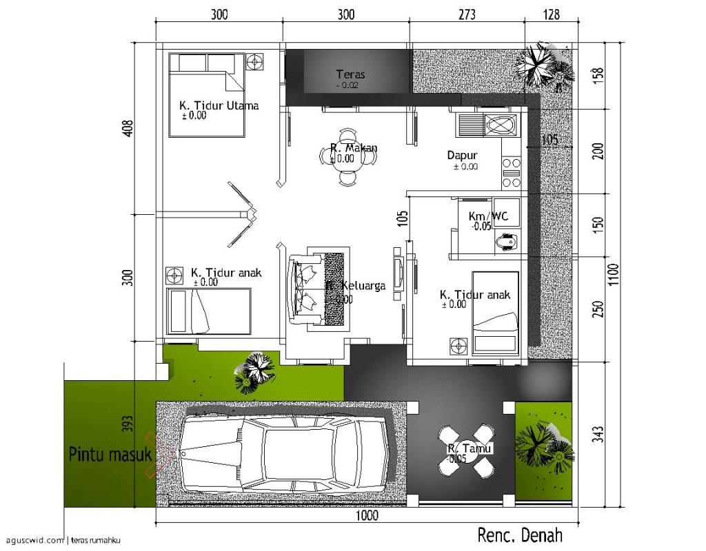 minimalis denah rumah minimalis 11 x 11 m desain denah rumah minimalis ...
