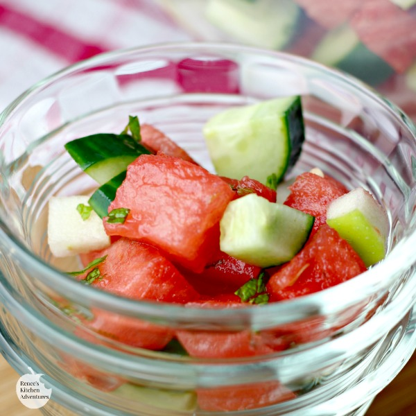Easy Summer Fruit Salad | by Renee's Kitchen Adventures - a healthy and easy recipe for watermelon, apples, and cucumber accented with lime and mint.  So refreshing!