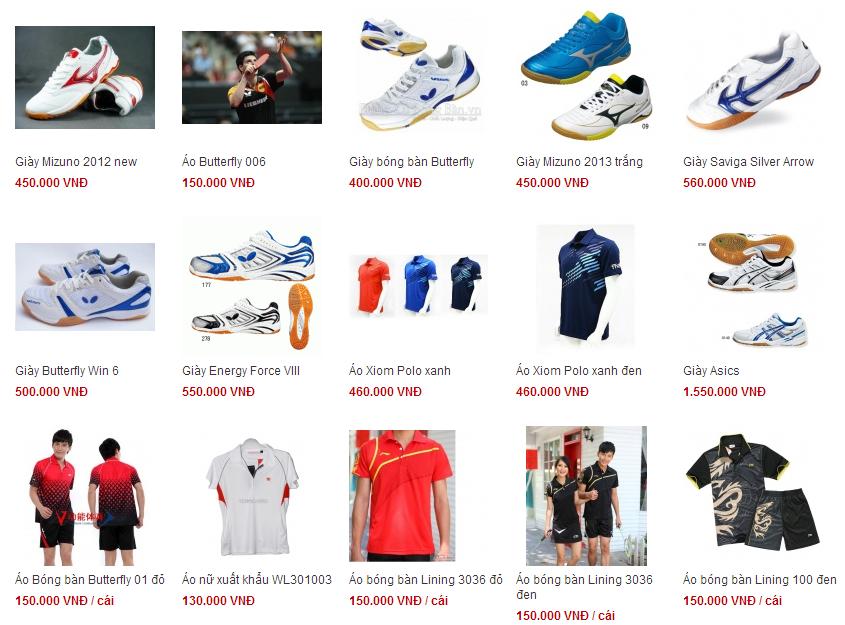 bán quần áo, phụ kiện thể thao