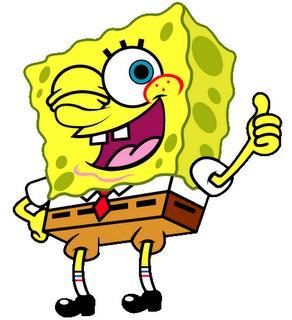 Bob esponja saluda con la mano y guiñando un ojo