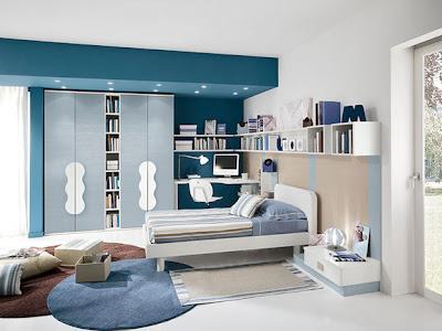 habitación azul juvenil