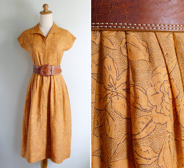 vintage 80's does 50's cotton shirtwaist dress