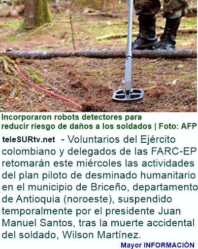 COLOMBIA: Ejército colombiano y FARC-EP retoman desminado en Antioquia