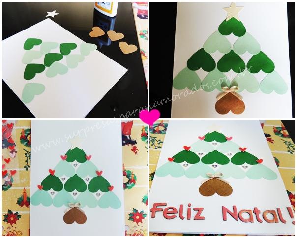 cartão de natal romântico com corações