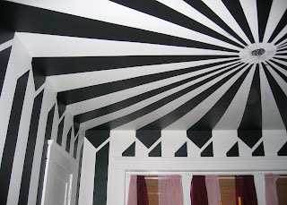 black and white striped circus living room project
