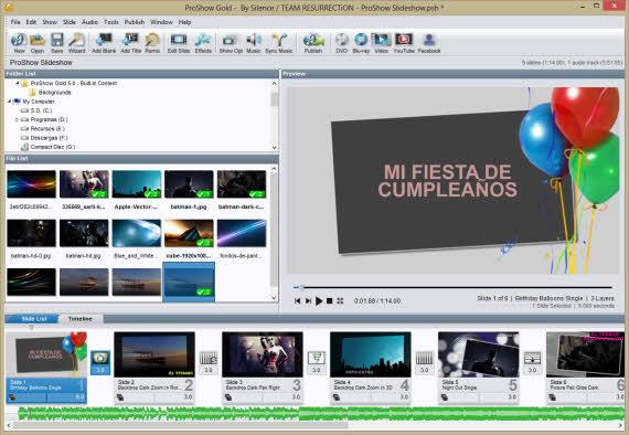 Crea presentaciones de fotos con ProShow