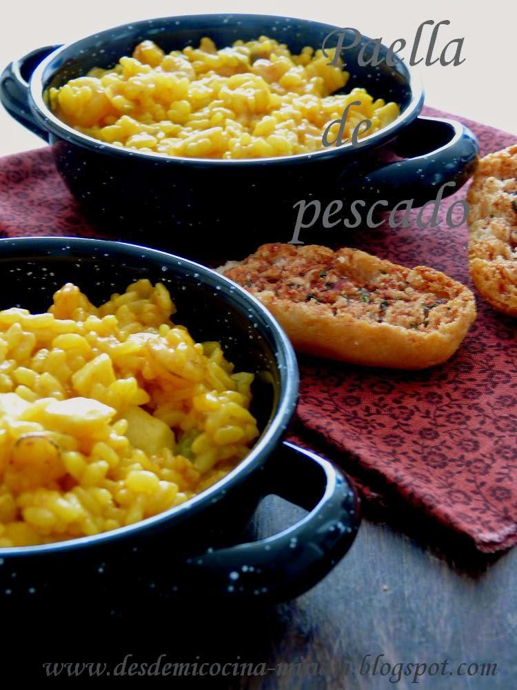 arroz, paella, paella de pescado