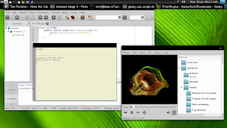 openSUSE 12.2 Manokwari Geany Java Totem Jamendo