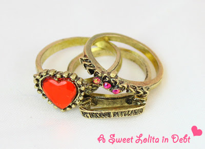 Stackable Rings, Red Heart RIngs,