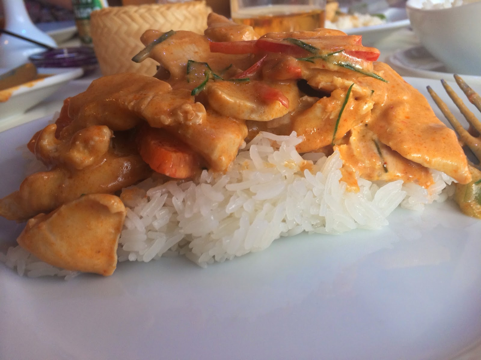 Thai red panang curry with sticky rice