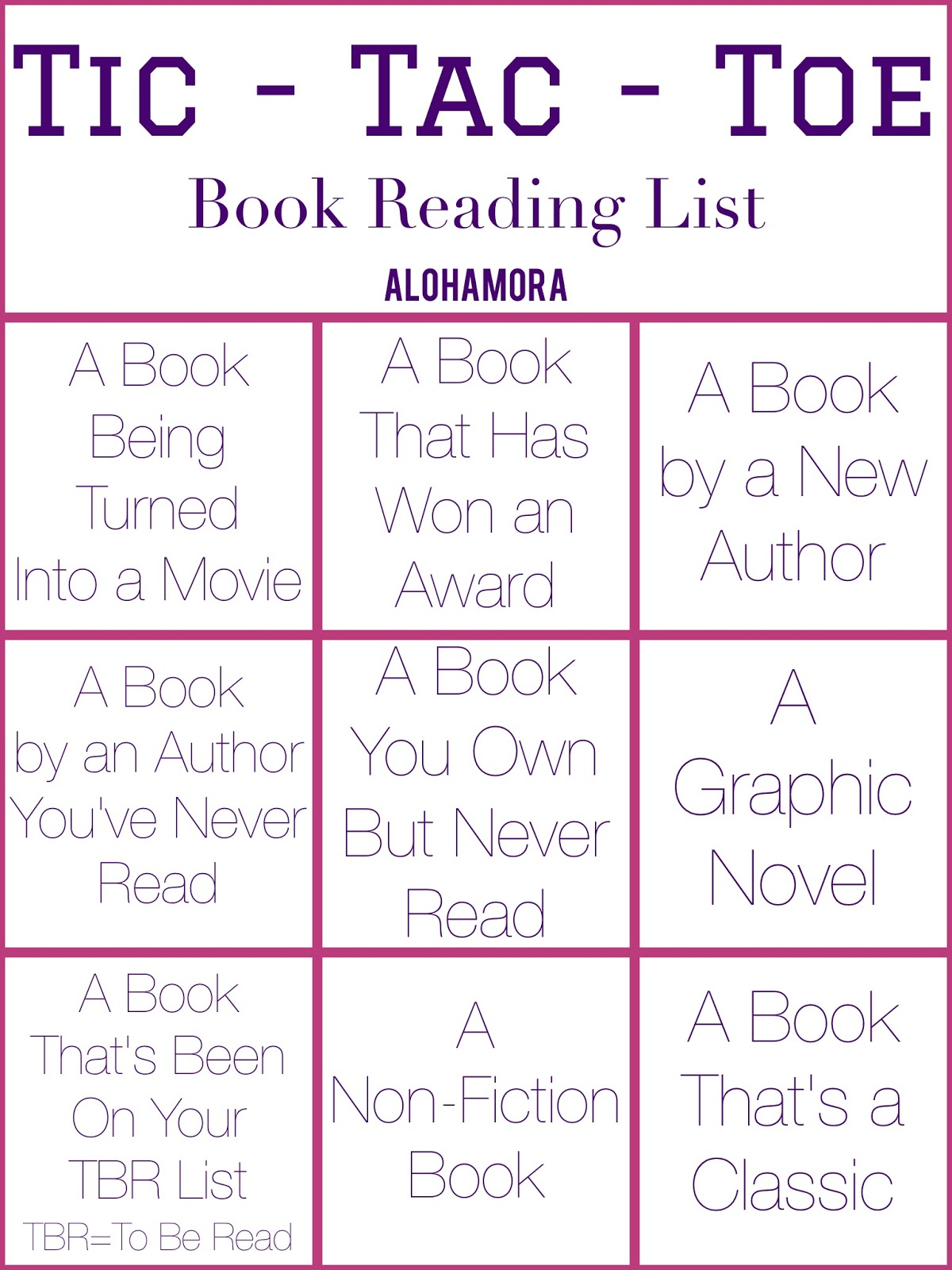 Tic Tac Toe Book Reading List.  A fun way to help you choose which book to read.  Teachers can use this as a way to get students reading (though they should use the blank one and fill it in with what works best for them. Alohamora Open a Book http://alohamoraopenabook.blogspot.com/