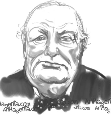 Winston Churchill caricature cartoon. Portrait drawing by caricaturist Artmagenta.