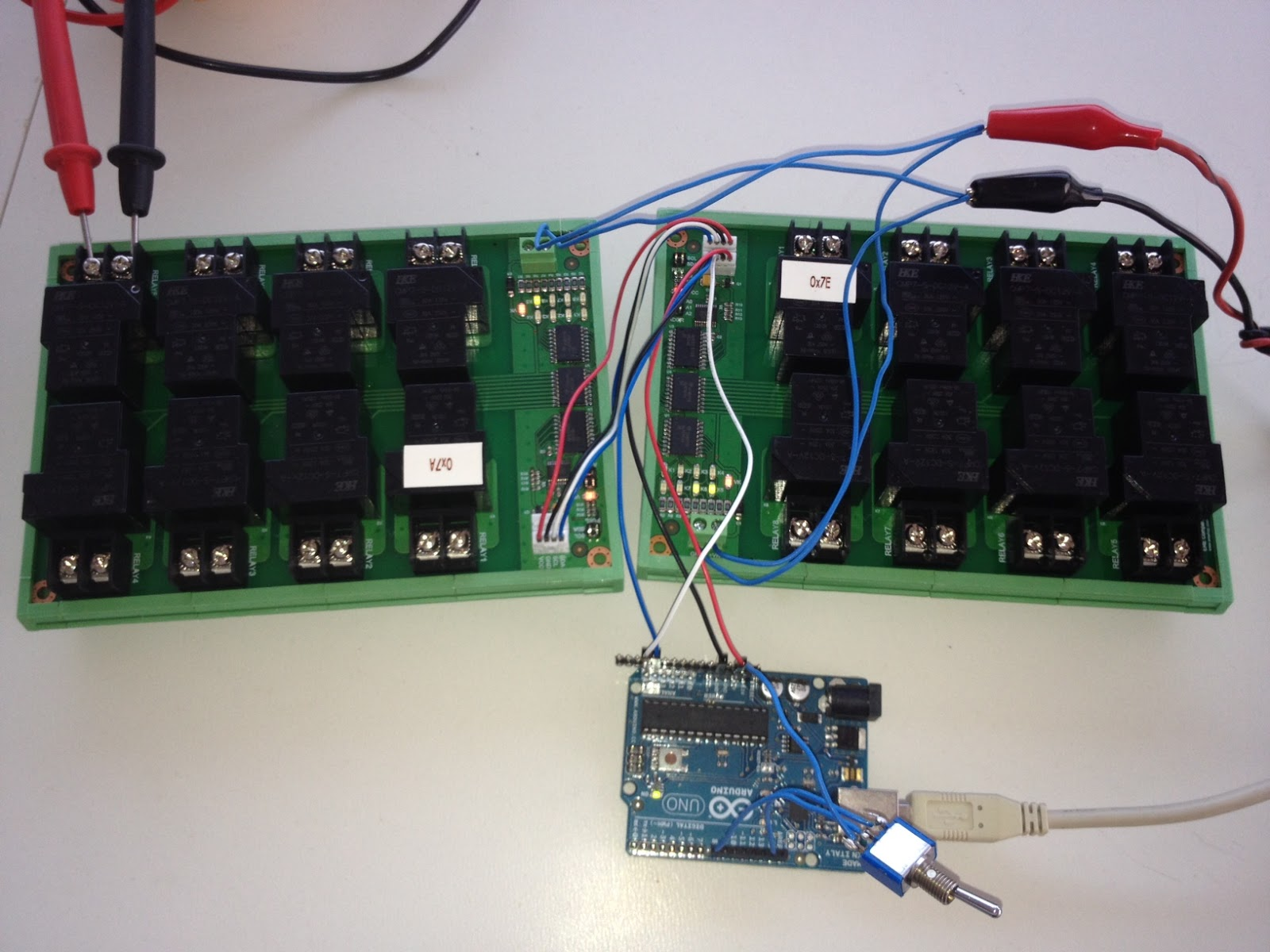 I2c Rl812l Ere Bus Heavy Current Relay 12v Pcf8574 Arduino Input Board2init Pinmode8 Void Loop Byte Switch Digitalread8 Board1setrelay4 Board2togglerelay4 Delay100