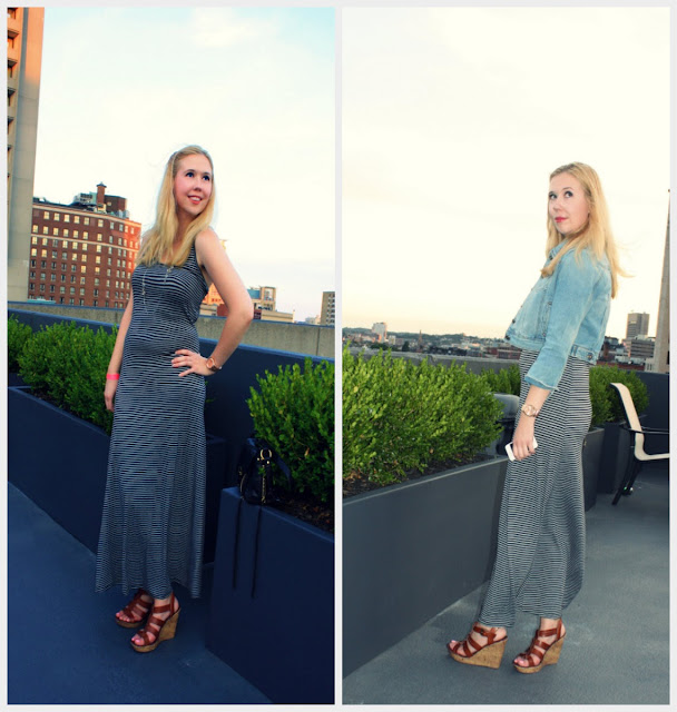 Street Style Revere Hotel Rooftop Denim Jacket Maxi Dress Summer