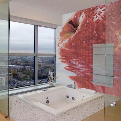 foto de baño con mosaicos