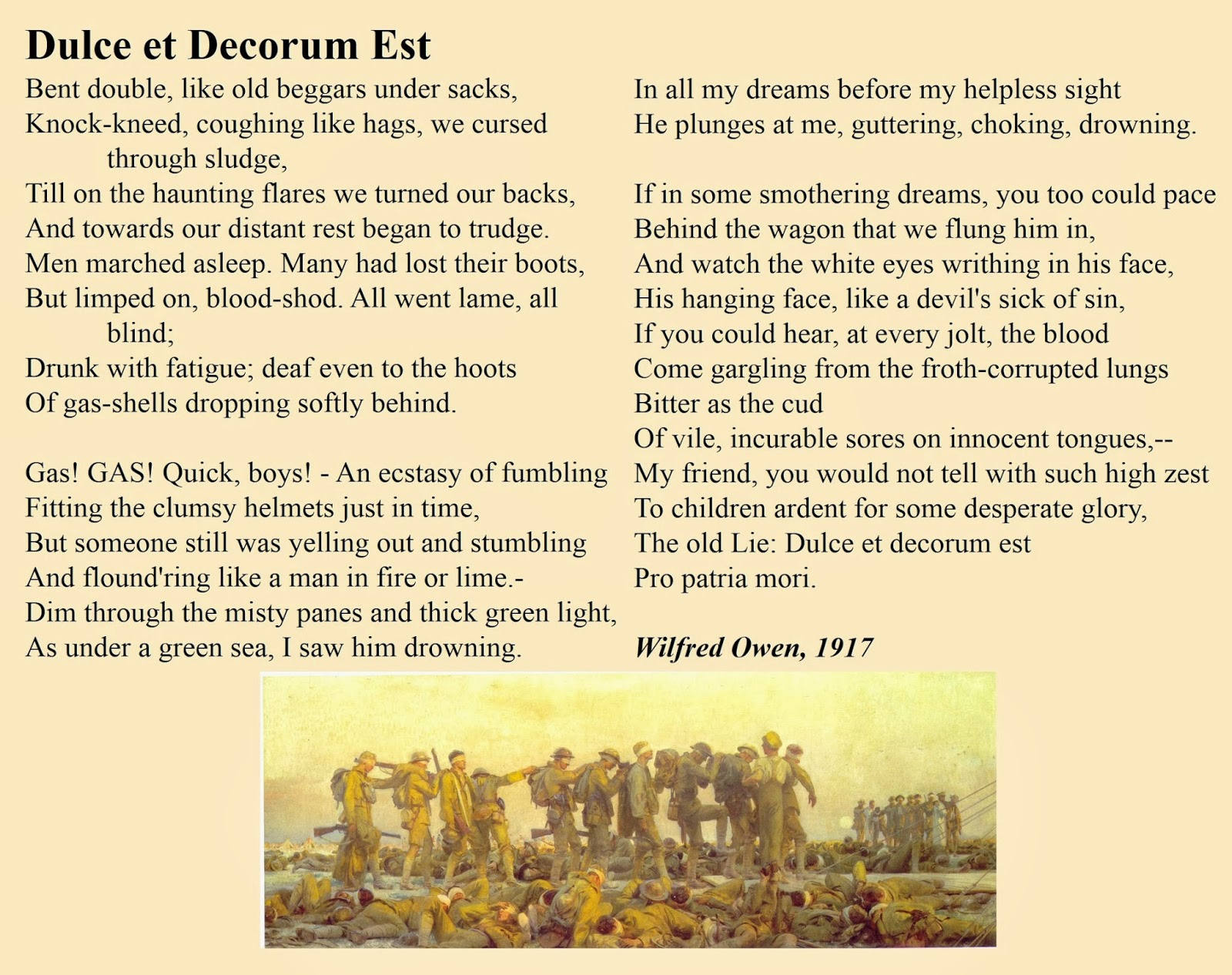 the presentation of war in 'dulce Wilfred owen of presentation of war  wilfred owen's presentation of war in anthem for doomed youth and the dead beat is that of cruelty, the lack of respect towards the soldiers, how war deteriorates the life of a person (shell-shock) and the effects on the loved ones.