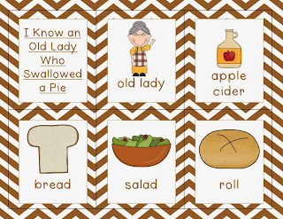 http://www.teacherspayteachers.com/Product/I-Know-an-Old-Lady-Who-Swallowed-a-Pie-Thanksgiving-story-mini-unit-982595