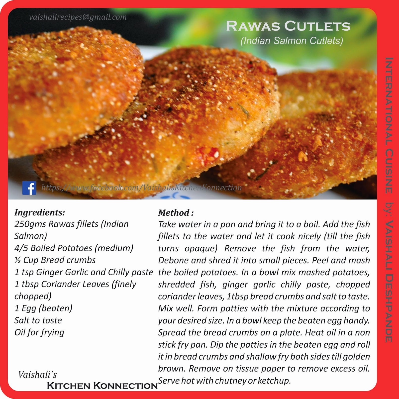 Rawas Cutlets Indian Salmon Print Recipe