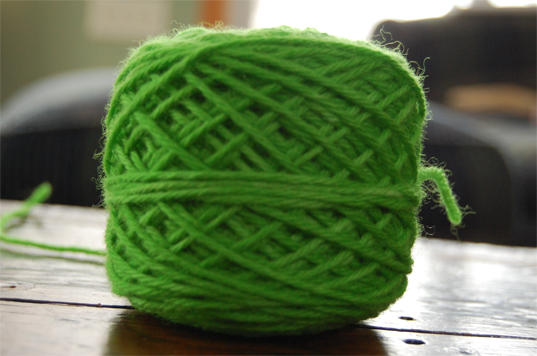 green kool aid dyed yarn