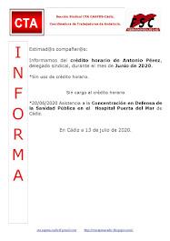 C.T.A. INFORMA CRÉDITO HORARIO ANTONIO PÉREZ, JUNIO 2020