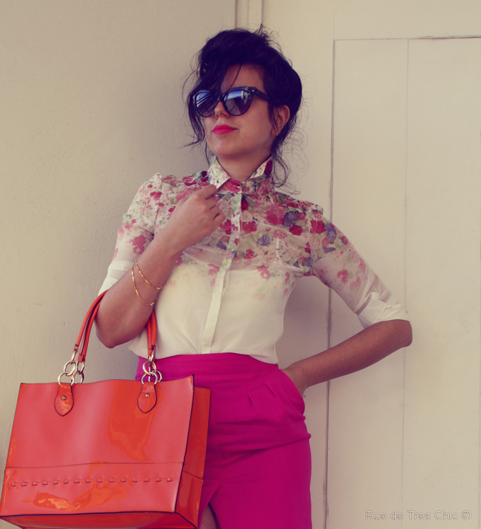 hot pink skirt heels fashion style blog orange