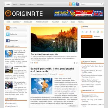 Originate blog template. template image slider blog. magazine blogger template style. wordpress theme to blogger. template blog 3 column