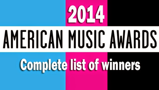 Complete list of winners for the 42nd American Music Awards 2014