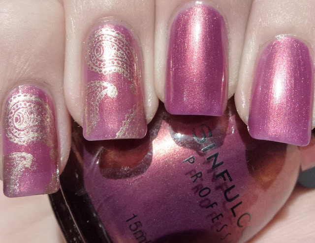 Kismet Elated, Sinful Colors, swatch, BM315 Barry M Gold Foil