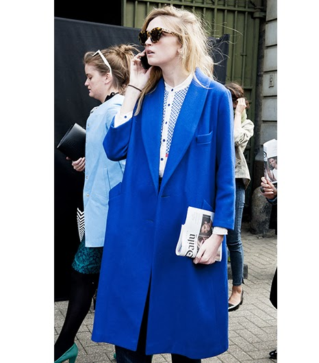 Bright blue color coat street style