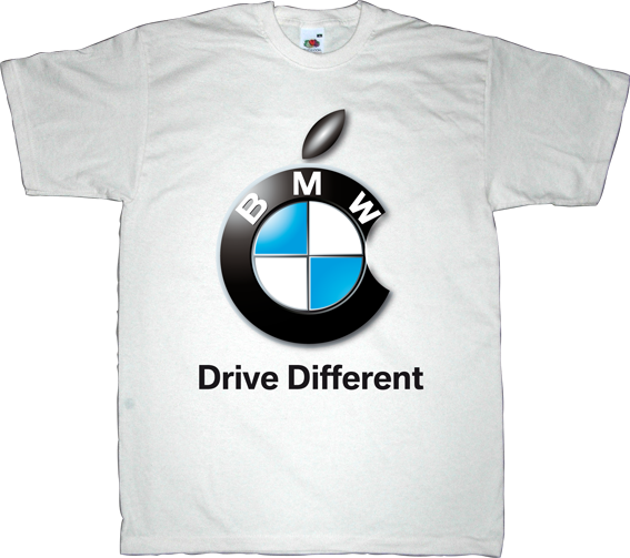apple bmw car industry fun t-shirt ephemeral-t-shirts