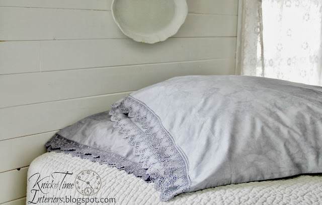 Pottery Barn Inspired Crochet Trimmed Pillow Shams DIY via Knick of Time