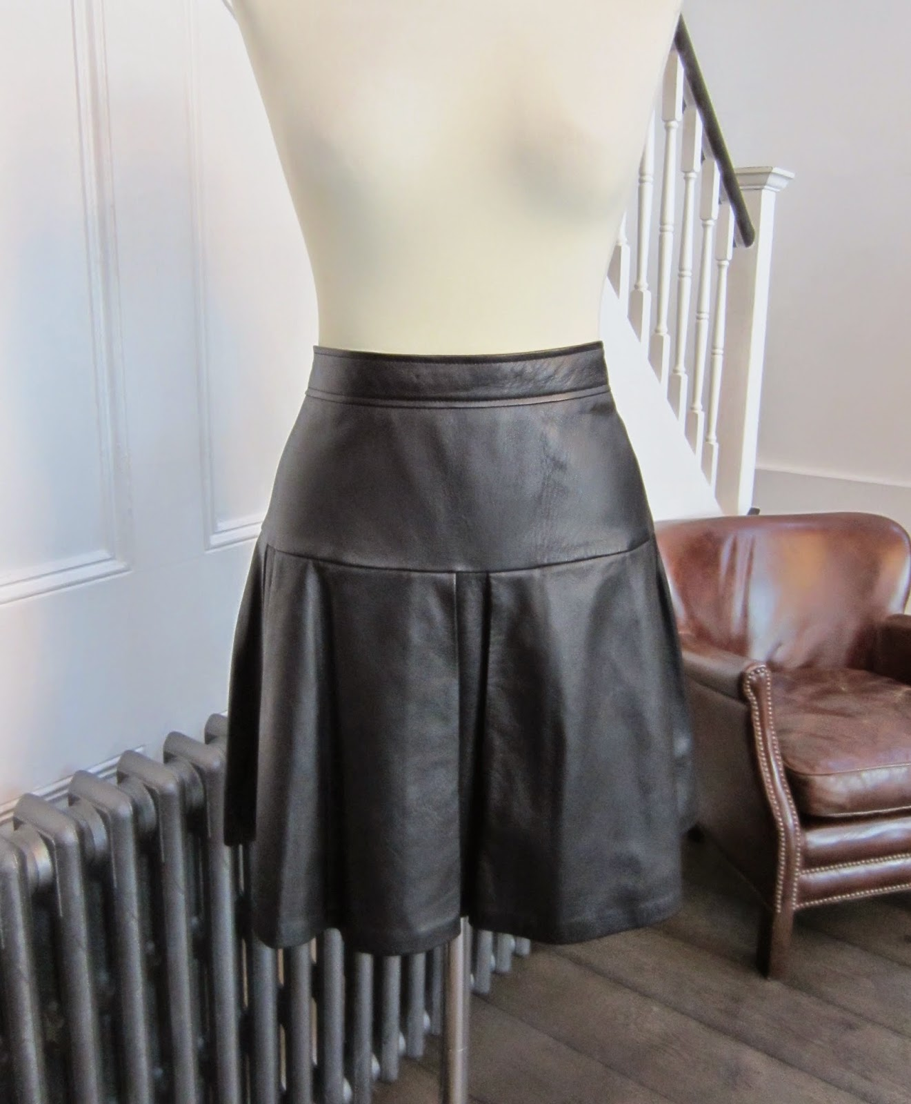 Whistles Black Leather Skirt