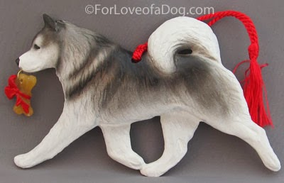 Dog Christmas Ornament like this Alaskan Malamute at For Love of a Dog Jewelry
