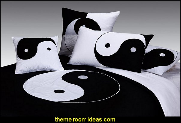 Yin Yang bedding Style Design Embroidered Oriental  Black and White bedding