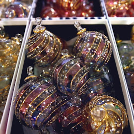 Beautiful glass ornaments at the Randolph Street Holiday Market!