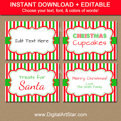Editable printable Christmas food labels in red, white, and green with stripes