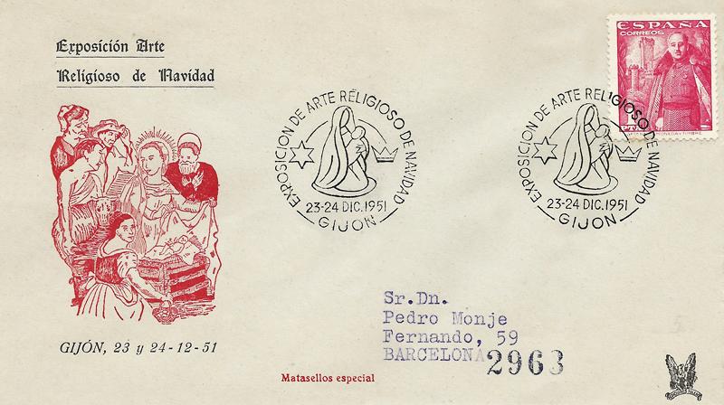 Primer matasellos conmemorativo asturiano, de diciembre de 1951 en Gijón